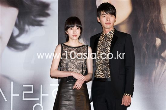 """From left, actress Lim Soo-jung and actor Hyun Bin take part in a press conference for film """"Come Rain, Come Shine"""" held at a CJ CGV theater in Seoul, South Korea on January 20, 2011. [Chae Ki-won/10Asia]"""