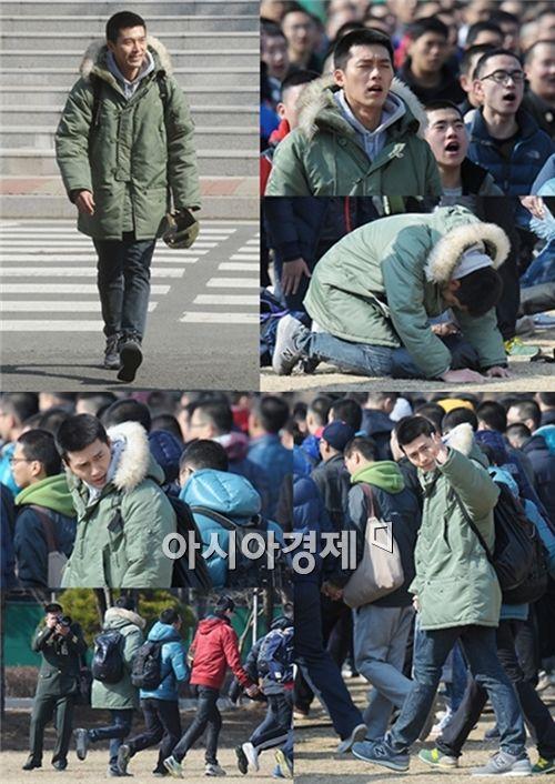 '해병대 입대' 현빈, 입소식서 '어버이 은혜' 열창