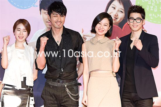 "From left, actors Yoo In-na, Cha Seung-won, Kong Hyo-jin and Yoon Kye-sang pose during a photocall of a press conference for MBC TV series ""The Greatest Love"" held in Seoul, South Korea on April 28, 2011. [Chae Ki-won/10Asia]"