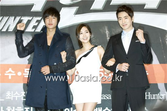"From left, Lee Min-ho, Park Min-young and Lee Jun-hyuk at the press conference for upcoming SBS TV series ""City Hunter"" held in Seoul, South Korea on May 17, 2011. [Lee Jin-hyuk/10Asia]"