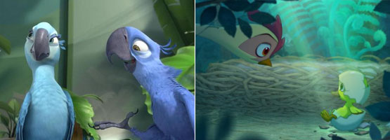 희귀종 앵무새 청년 블루의 <리오>와 자신의 알을 품겠다는 꿈을 꾸는 잎새의 <마당을 나온 암탉>.