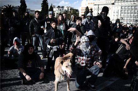 그리스 반정부 시위대 편에 선 '황구'