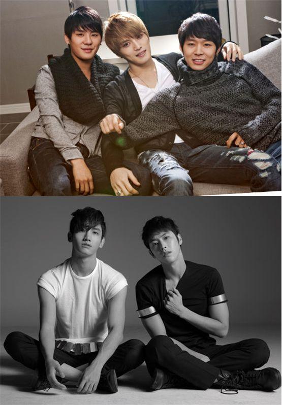 JYJ (top) and TVXQ [C-Jes Entertainment / SM Entertainment]