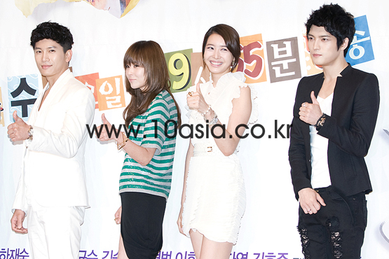 "From left, Ji-sung, Choi Gang-hee, Wang Ji-hye and Kim Jae-joong at the press conference for SBS TV series ""Protect the Boss"" held in Seoul, South Korea on July 27, 2011. [SBS]"