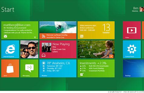 윈도8 시작화면 (출처:마이크로소프트)
