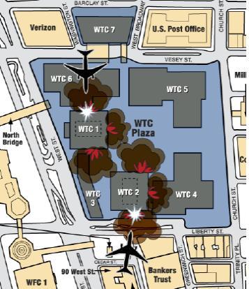 2001년 9월 11일 당시 세계무역센터가 공격 받던 상황 [출처 : 위키디피아]