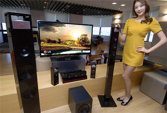 LG전자가 오는 3월 북미시장에 선보일 예정인 3D 홈시어터 신제품.