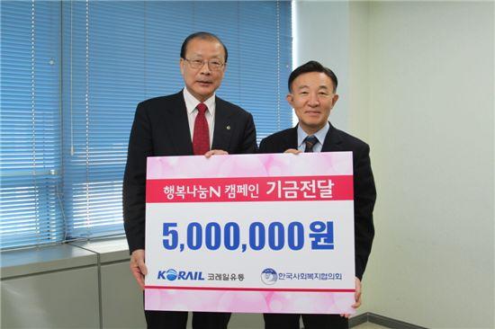 정대종(오른쪽) 코레일유통 사장이 한국사회복지협의회에 '행복나눔N캠페인' 기금을 전하고 있다.