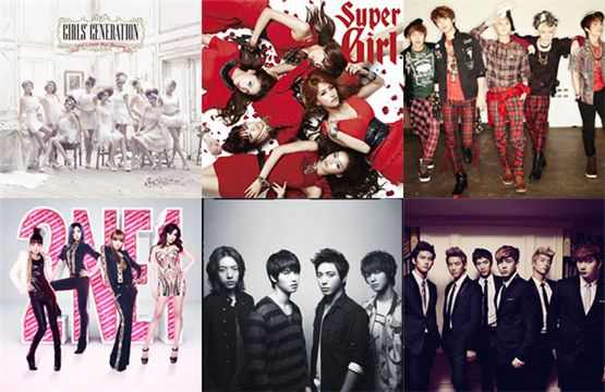 (from top left to right): Girls' Generation, KARA, SHINee, 2NE1, CNBLUE and 2PM [SM Entertainment/DSP Media/YG Entertainment/FNC Music/JYP Entertainment]
