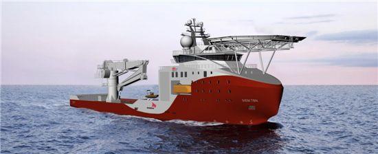 ▲STX OSV가 노르웨이 선사인 시엠 오프쇼어로부터 수주한 해저건설특수선 이미지