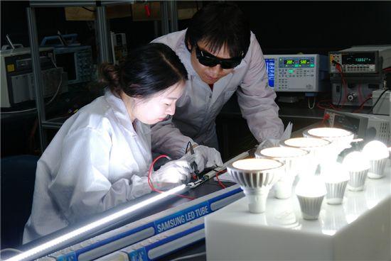삼성전자 수원 디지털시티에 위치한 LED조명 안전시험소에서 연구원들이 전기적 안전성을 검사하고 있다.