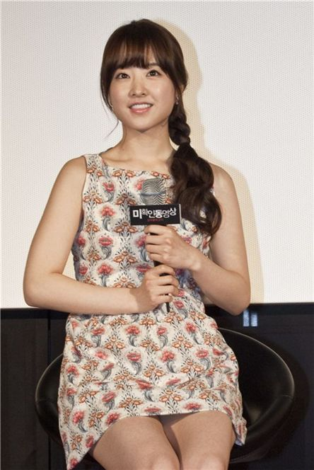 """Park Bo-young speaks to reporters at the press conference for upcoming horror film """"Don't Click"""" held in Seoul, South Korea on May 3, 2012. [Showbox]"""