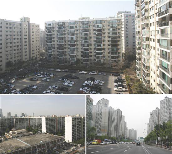 강남3구의 대단지 아파트 전경
