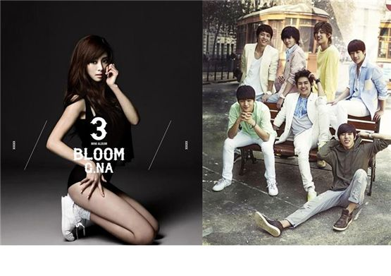 G.NA (left) and INFINITE (right) [Cube Entertainment, Woollim Entertainment]