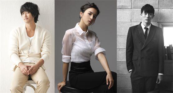 Jin Goo (left), Han Hye-jin (center) and 2AM's Seulong (right) [BH Entertainment/Namoo Actors/Big Hit Entertainment]