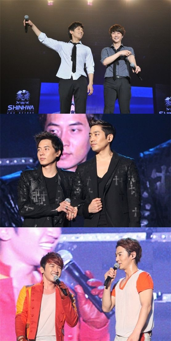 Shinhwa members at the Singapore leg of the group's Asia tour. Kim Dong-wan and Shin Hye-sung (top), Andy and Eric (center) and Lee Min-woo and Jun Jin (bottom) [Shinhwa Company]