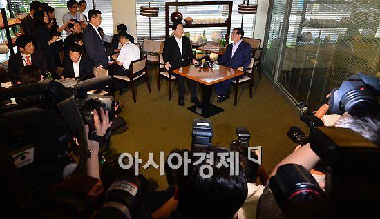 [포토] 김두관-박원순 조찬회동