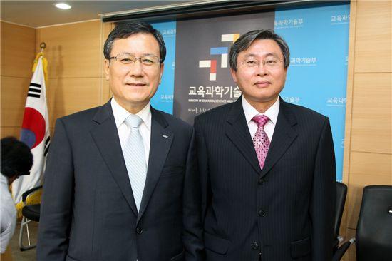 2012년 최고과학기술인상을 수상한 신성철 DGIST총장(좌)과 윤보현 서울대학교 교수