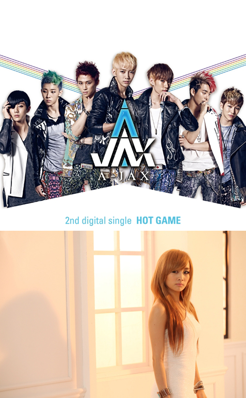 """Cover to A-JAX's 2nd digital single """"HOT GAME"""" (top) and a still shot of KARA's Nicole in """"HOT GAME"""" music video [DSP Media]"""