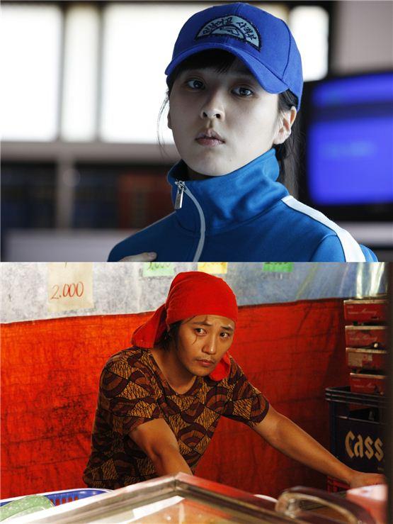 "Actress Han Hye-jin (top) and actor Jin Goo (bottom) during the shooting of ""26 Years"" [Chungeorahm]"