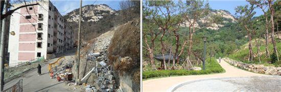 옥인시범 아파트 철거 전(왼쪽) 모습과 수송동 계곡 복원 후 모습(오른쪽).