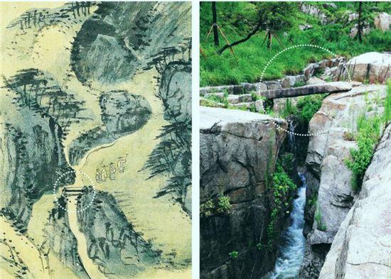 수성동 계곡이 겸재 정선의 그림 '수성동 장동팔경첩'에 담겨있다. (왼쪽, 영조 27년(1751년) 종이에 채색. 간송미술관 소장). 정선의 그림 따라 복원된 수성동 계곡. 점선 안 돌다리의 모습이 그림과 똑같다.(오른쪽)