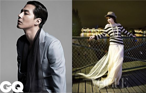 Actor Zo In-sung (left) in a pictorial for GQ Korea and actress Song Hye-kyo (right) in a photo shoot for Vogue Korea [GQ Korea/Vogue Korea]
