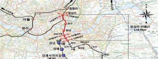 10월 개통 예정인 분당선 왕십리~선릉 구간 지하철 가칭역명들. 현재 환승역을 제외하고 새로운 이름이 필요한 역은 가칭 '성수', '청담', '삼릉' 3곳이다.