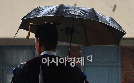 [포토]비 피하는 졸업자
