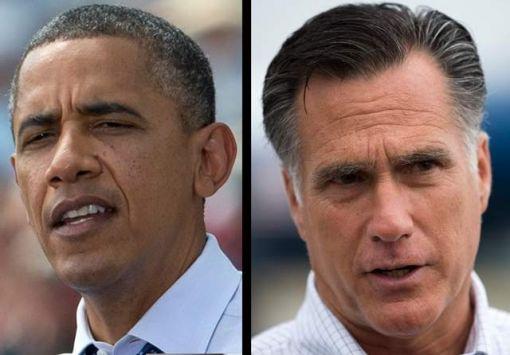 민주당 소속 버락 오바마 대통령과 밋 롬니 공화당 후보