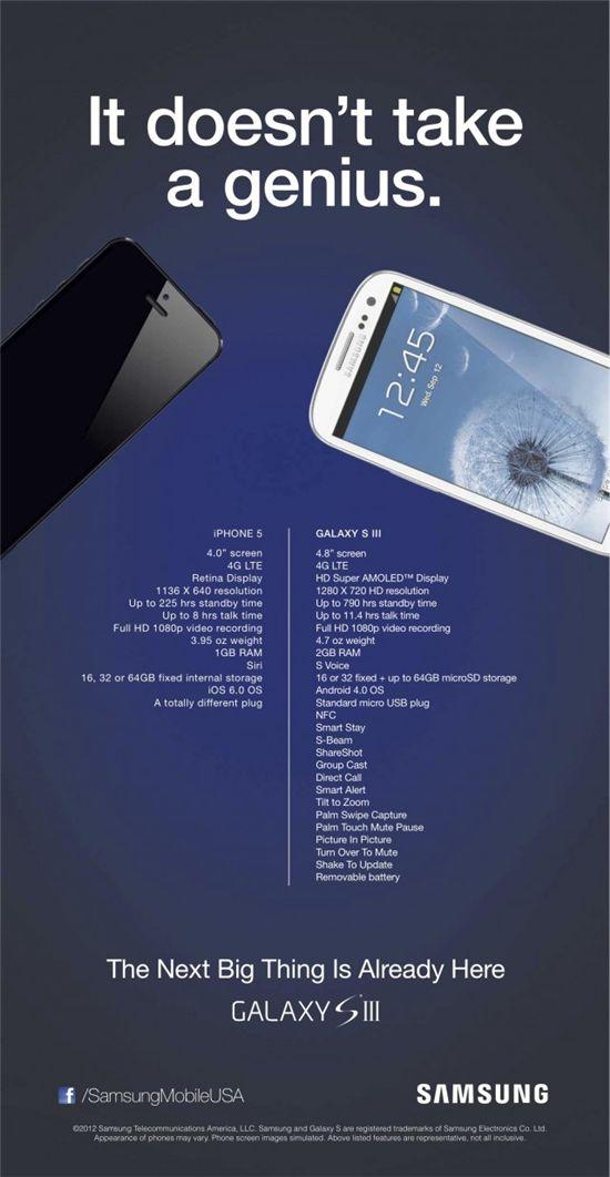 '아이폰5 막아라' 삼성, 미국서 대담한 광고