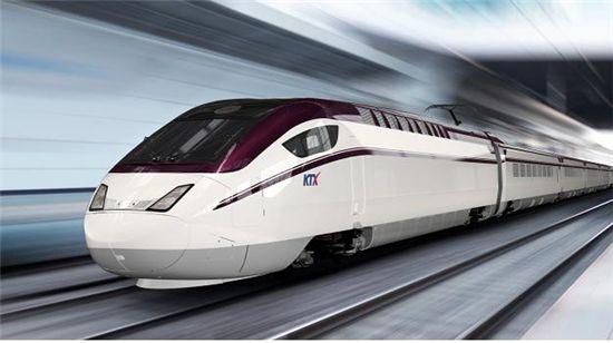날아가는 탄환을 모티브로 빠른 이미지와 풍성한 느낌을 주는 와인색깔의 '수서발 고속철도차량' 디자인