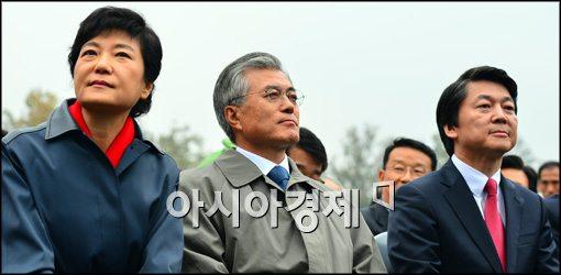[포토]각자 다른 곳 보는 박근혜-문재인-안철수
