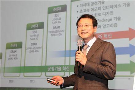 '삼성 메모리 솔루션 CIO 포럼 2012'에서 홍완훈 삼성전자 메모리사업부 부사장이 4세대 그린메모리 솔루션 전략을 소개하고 있다.