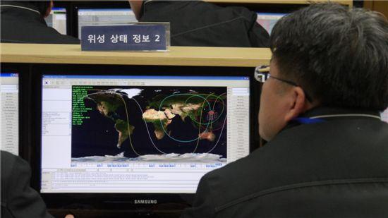 카이스트 인공위성센터 연구원이 나로과학위성의 지구 궤도 모습과 현재 상태를 확인하고 있다.