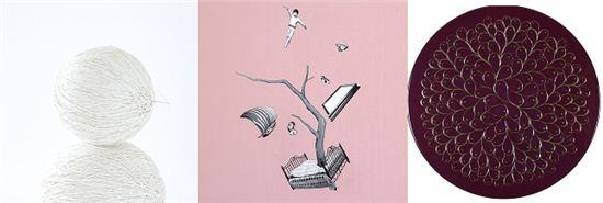 (왼쪽부터)김시연, Thread(실타래), 디지털 프린트, 100x 100cm, 2011(에디션 1/5),  정규리, A time tree, oil on canvas, 60x 60cm, 2012, 함연주, blooming, mixed media, 지름 50cm, 2013.