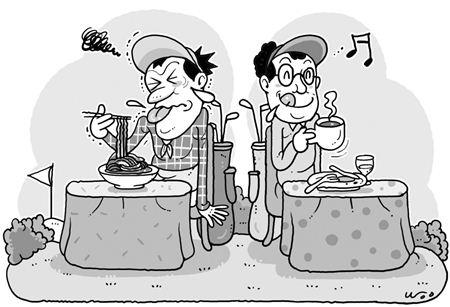 골프장의 식당 위탁 운영이 늘어나면서 맛과 가격에 대한 불만이 쏟아지고 있다. 일러스트=이영우 기자 20wo@asiae.co.kr
