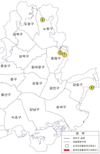 소규모 단절토지 분포도 (자료제공 : 서울시)