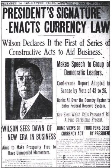 1913년4월23일 연방준비법에 서명한 윌슨 대통령의 소식을 전한 신문기사