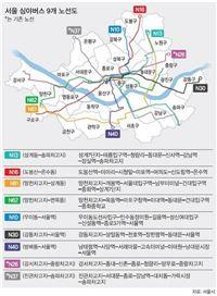 서울 시내 심야 버스 노선도