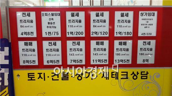 정부가 8·28 전월세 대책을 내놨지만 전셋값 상승세는 꺾일 줄 모르고 있다. 사진은 서울 송파구 한 공인중개업소에 붙어있는 아파트 매물표다.