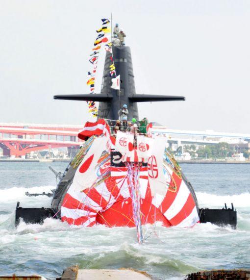 일본의 소류급 잠수함 6번함 고쿠류함.AIP를 탑재하고 서브하푼 미사일을 운용한다.