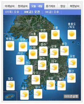 ▲내일 지역별 날씨(출처: 기상청)