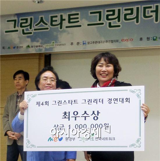 그린스타트전국네트워크 김재옥 상임대표(왼쪽)와  이남숙 남구 그린리더가 기념촬영을 하고 있다.
