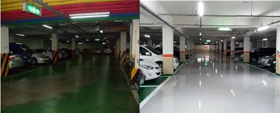 성북구 석관동 두산아파트는 지하주차장 조명을 LED로 교체해 공동전기료를 80% 가까이 절감하고 있다.