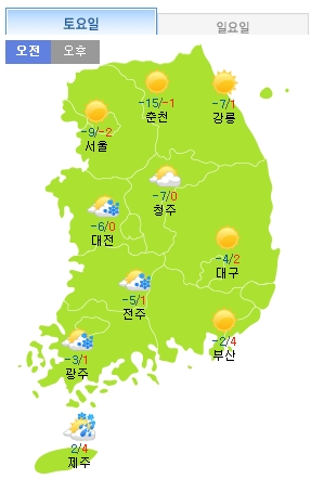 ▲주말 날씨.(출처: 기상청 홈페이지)