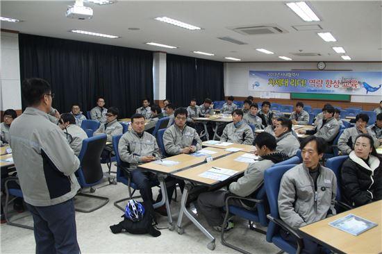 지난해 12월 31일 대우조선해양 옥포조선소에서 '차세대 리더 역량 향상 교육' 마지막 차수가 열렸다.(사진제공=대우조선해양)