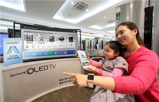 ▲삼성전자 모델이 스마트기기와 TV·가전제품 등이 하나로 연동되는 스마트홈 서비스를 소개하고 있다.