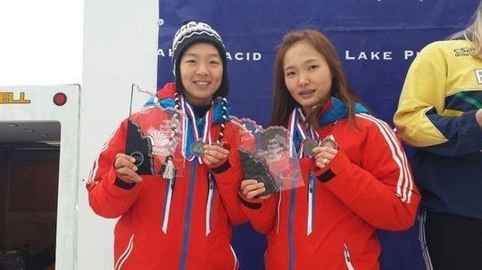 한국 여자 봅슬레이 대표팀 김선옥(서울연맹·왼쪽)과 브레이크맨 신미화(삼육대)