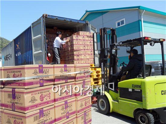 고창서해안복분자주, 중국 산둥성 수출